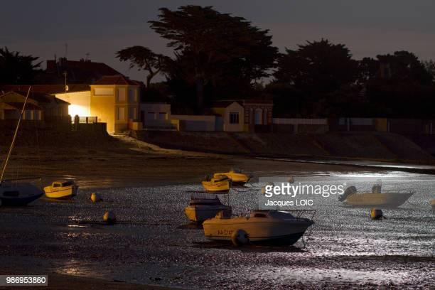 France, La Bernerie-en-Retz, moonlight at low tide.