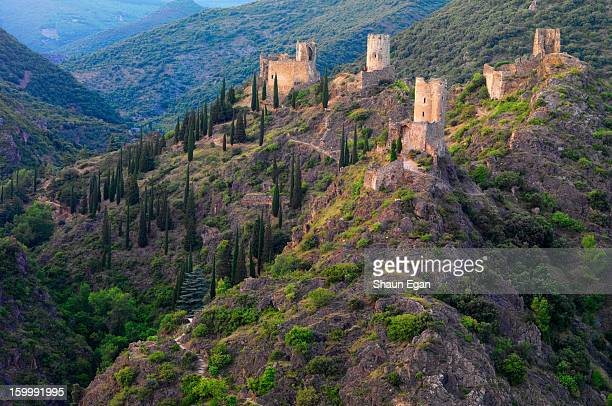 france, languedoc, lastours, cathar castles - carcassonne stock pictures, royalty-free photos & images