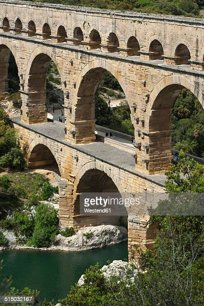 France, Languedoc Roussillon, Gard, view to Pont du Gard