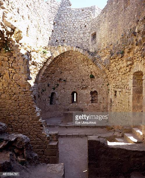 France LanguedocRoussillon Aude Chateau Peyrepertuse Ruined medieval Cathar castle stronghold St Marys Chapel and altar