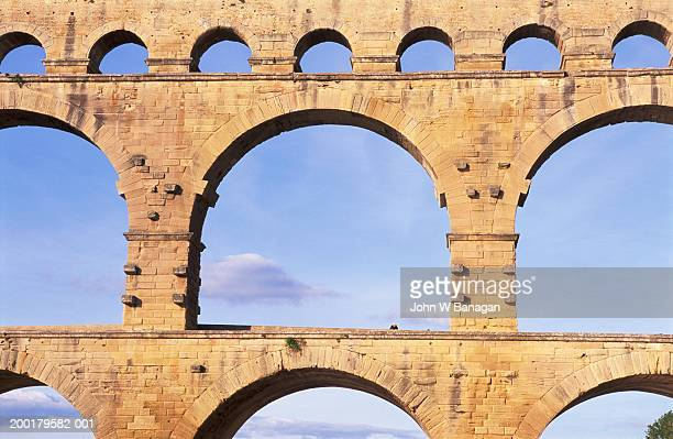 france, languedoc-roussillon, pont du gard aqueduct - gard stock photos and pictures