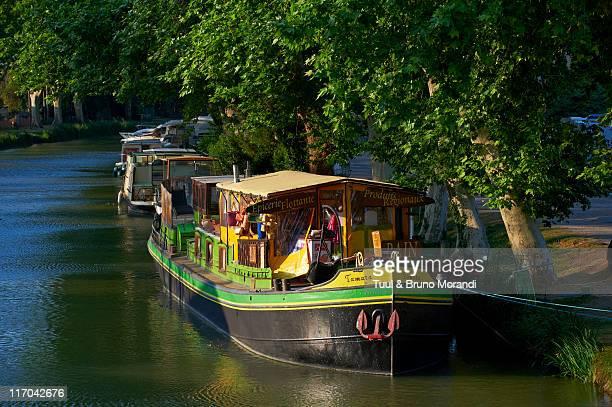 France, Le Somail, Canal du Midi, Barge