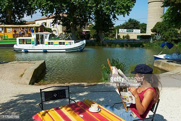 France, Le Somail, Canal du Midi, river harbour