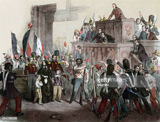 France Liberal Revolution 1848 Popular uprising to force the abdication of King Louis Philippe of Orleans and proclaim the Second Republic National...