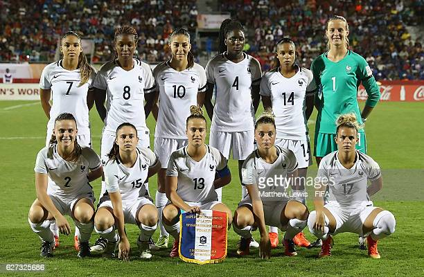 France line up against Korea DPR during the FIFA U20 Women's World Cup Papua New Guinea 2016 Final between Korea DPR and France at the National...