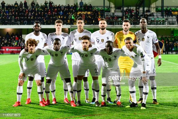 France line up before the Qualifying European Championship match between Moldova and France at Zimbru Stadium on March 22 2019 in Chisinau Moldova