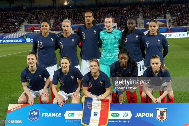 France line up before women friendly soccer match France vs Japan at Stade de L'AbbeDeschamps on April 04 2019 in Auxerre France