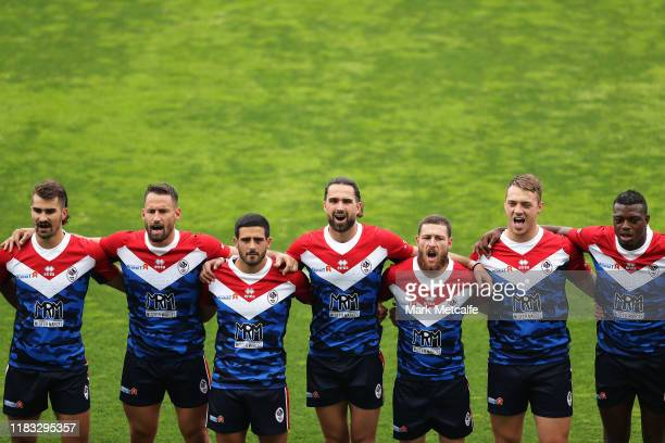 France line up during the International Test match between the Australian Junior Kangaroos and France at WIN Stadium on October 25, 2019 in...