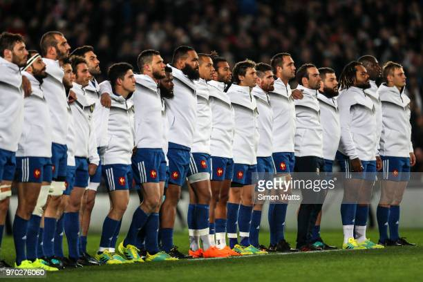 France line up during the national anthems during the International Test match between the New Zealand All Blacks and France at Eden Park on June 9...
