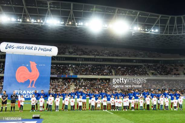 France line up during the test match between France and Scotland on August 17 2019 in Nice France