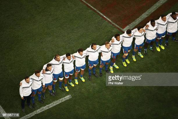 France line up for the National Anthems during the International Test match between the New Zealand All Blacks and France at Forsyth Barr Stadium on...