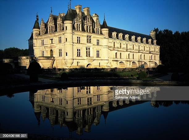 France, Loire, Chateau de Chenonceau, view across River Cher