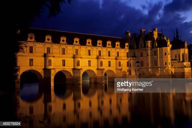 France Loire Region Chenonceaux Chateaux Castle Cher River Night Photography