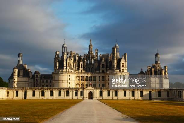 France, Loire Valley, Loir-et-Cher, Chambord, Chateau de Chambord, South Facade at Sunset.