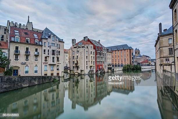 France, Lorraine, Metz, Houses at Canal