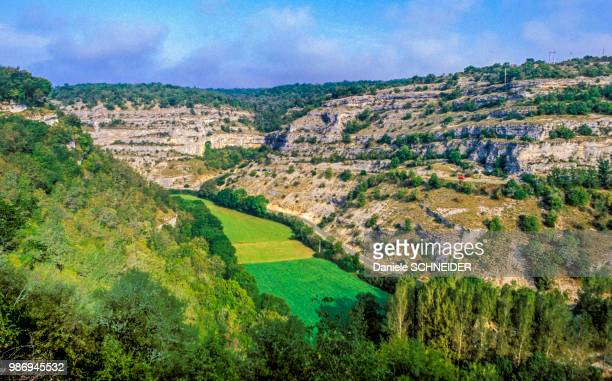france, lot, causses du quercy regional natural park, rocamadour, alzou gorges - rocamadour stock pictures, royalty-free photos & images