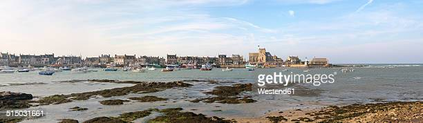 France, Lower Normandy, Manche, Barfleur, Panorama, Harbour of Barfleur in the evening