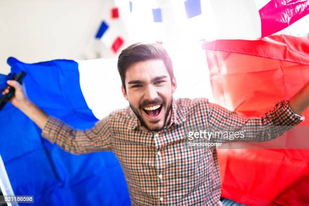 France man supporters at home screaming for the victory
