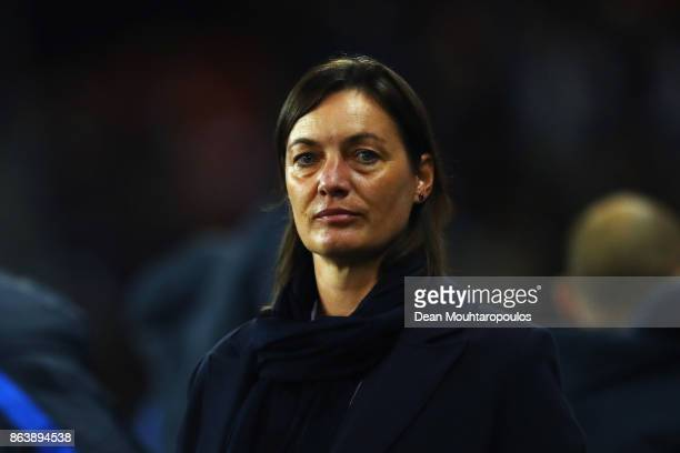 France Manager / Head coach Corinne Diacre looks on during the International friendly match between France and Women held at Stade du Hainaut on...
