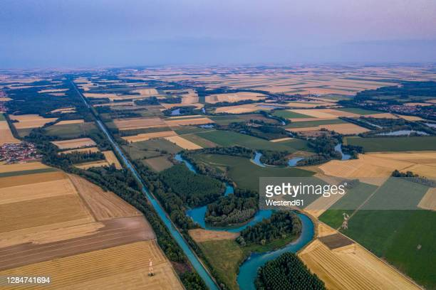 france, marne, conde-sur-marne, aerial view of river marne flowing through patchwork countryside - マルヌ県 ストックフォトと画像