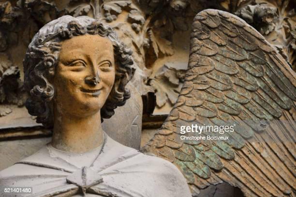 France, Marne, Reims, World Heritage Site, Notre Dame cathedral, Smiling angel
