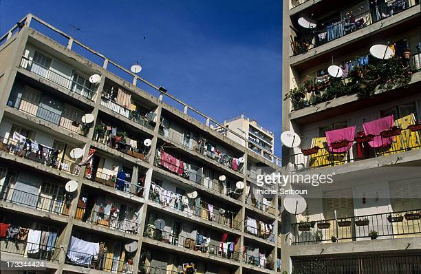 France. Marseille. CITE BELLEVUE rue felix pyatt before renovation. With parabolic antennas on balconies