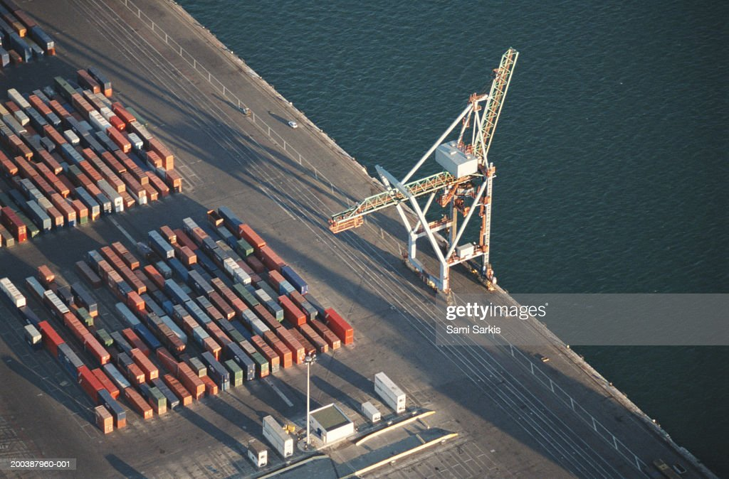 France, Marseille, freight container yard at port, aerial view : Stock Photo