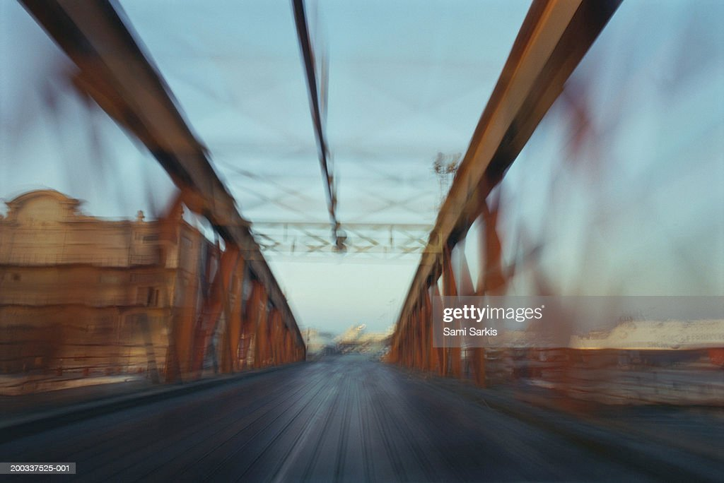 France, Marseille, road bridge(blurred motion) : Stock Photo