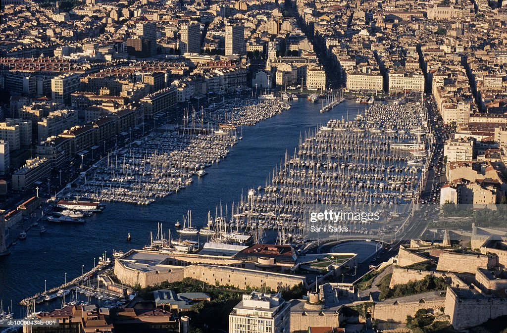 France, Marseille, Vieux Port, Moored sailboats in harbour, aerial view : Stock Photo