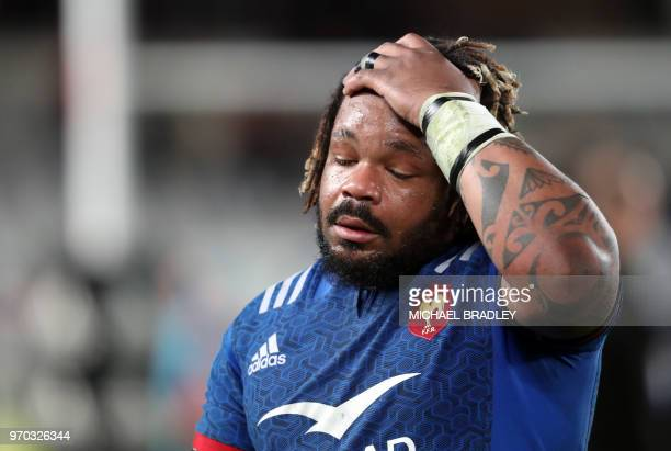 France Mathieu Bastareaud reacts after the final whistle during the first rugby Test match between New Zealand and France at Eden Park in Auckland on...
