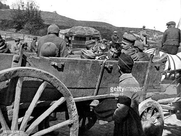 France May 10 World War I A wagon of wounded German prisoners arriving at MontSaintEloi The German helmets no longer have their spike