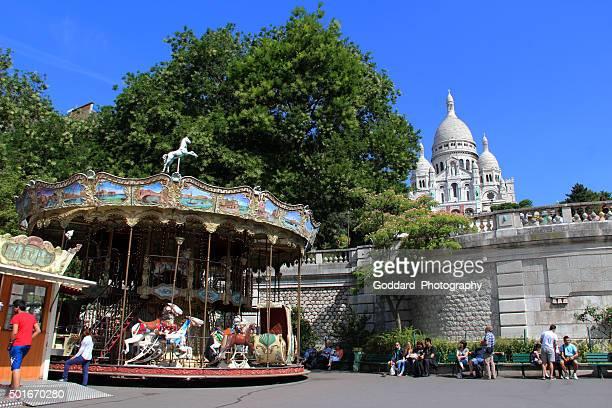 France: Merry-Go-Round and the Sacré-Cœur Basilica in Paris