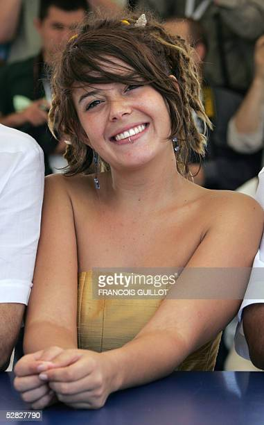 Mexican actress Anapola Mushkadiz smiles during a photo call for Mexican director Carlos Reygadas' film Batalla en el Cielo 15 May 2005 during the...