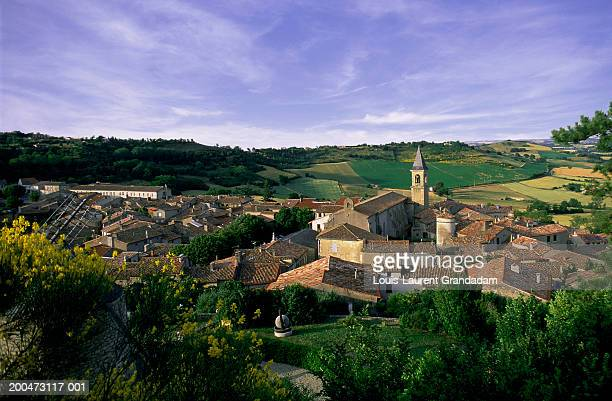 France, Midi-Pyrenees, Tarn, Lautrec, cityscape, sunset, elevated view