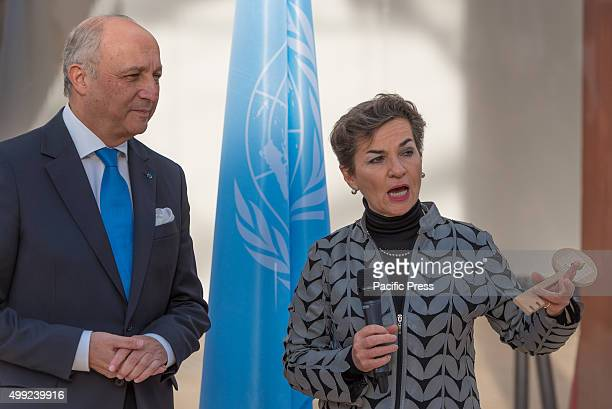 France Minister of Foreign Affairs Laurent Fabius hands over the keys of Le Bourget to the UN Framework Convention on Climate Change Christiana...