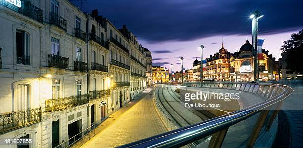 France Montpellier Place de La Comedie illuminated at night