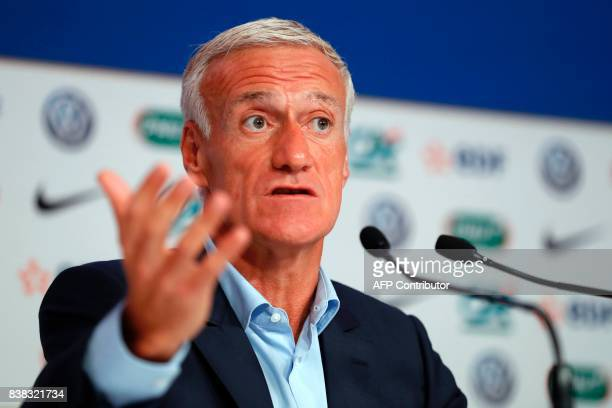 France national football team's coach Didier Deschamps gestures as he speaks during a press conference at the headquarters of French Football...