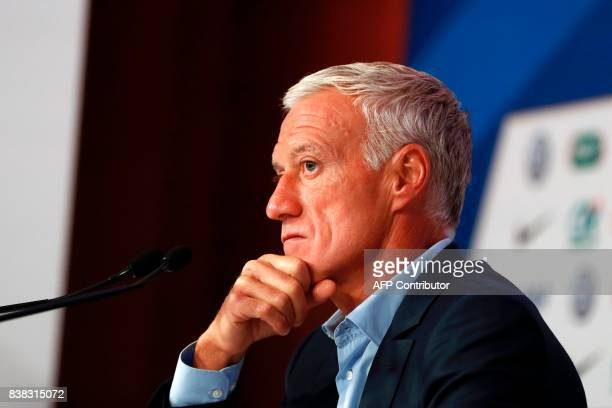 France national football team's coach Didier Deschamps holds a press conference at the headquarters of French Football Federation in Paris on August...