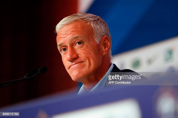 France national football team's coach Didier Deschamps looks on during a press conference at the headquarters of French Football Federation in Paris...