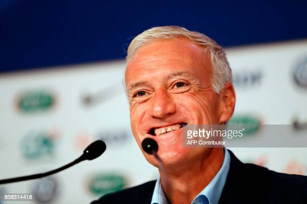 France national football team's coach Didier Deschamps speaks during a press conference at the headquarters of French Football Federation in Paris on...