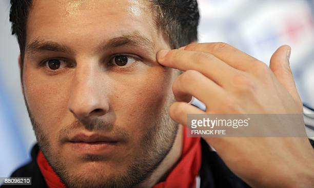 France national football team's forward AndrePierre Gignac answers journalists' questions during a press conference on June 1 2009 at the...