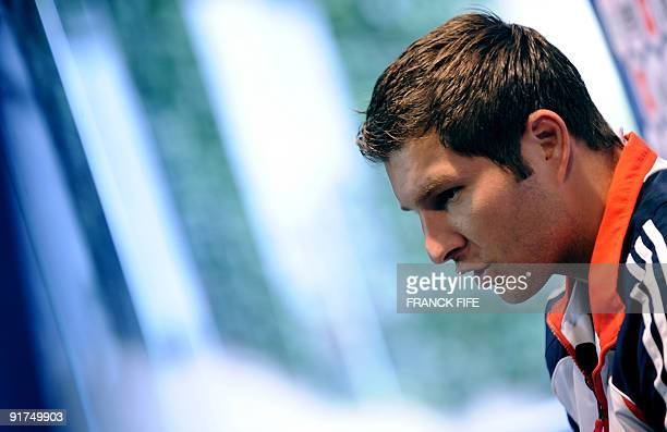 France national football team's forward AndrePierre Gignac answers to journalists' questions during a press conference on October 11 2009 in...