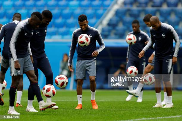 France national team players during a France national team training session ahead of the 2018 FIFA World Cup Russia Semi Final match against Belgium...