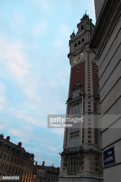 France, Nord-Pas-de-Calais, Lille, Low angle view of the Bell tower of the Chamber of Commerce