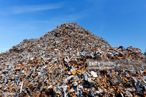 France, Normandy. Channel. Granville. The port. Mountain of scrap iron from household waste waiting to go to Russia or China for recycling.
