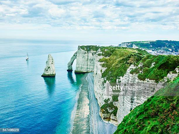 France, Normandy, Etretat, Cote dAlbatre, rocky coastline