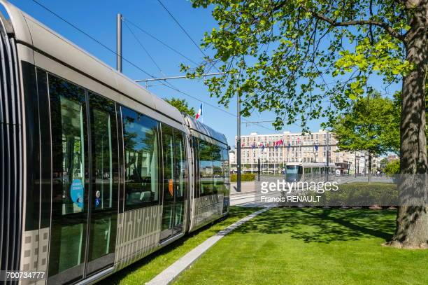 France, Normandy, Le Havre, City hall square, streetcar