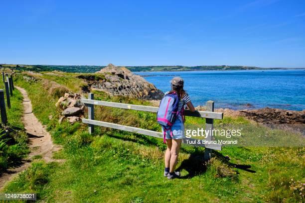 france, normandy, manche department, cotentin, omonville-la-rogue, coastal path - the hague stock-fotos und bilder