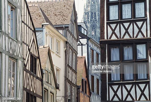 france, normandy, rouen, houses, low angle view - rouen stock pictures, royalty-free photos & images