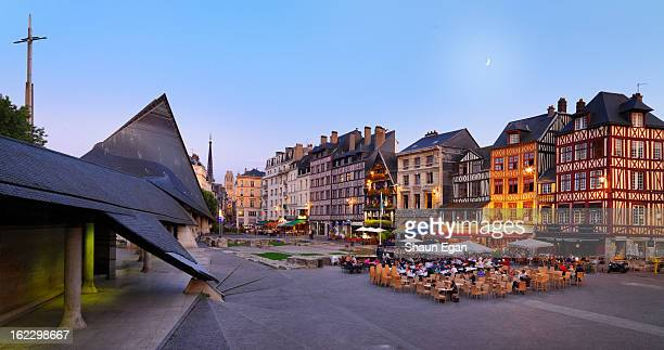 france, normandy, rouen, place du vieux-marche - rouen stock pictures, royalty-free photos & images